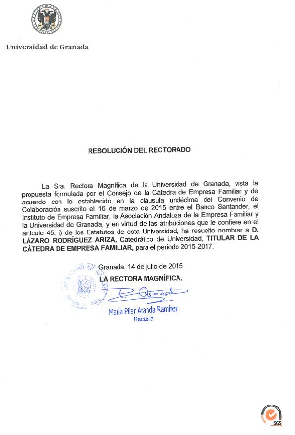 Lázaro Rodríguez Ariza Director CefUGR 15 17